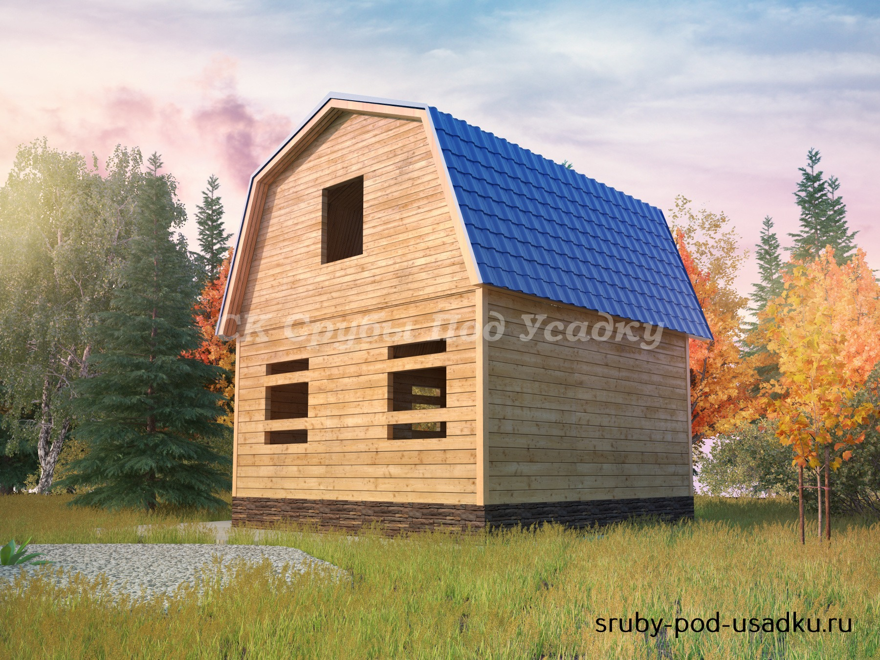 Дом из бруса под усадку 6х6 №6