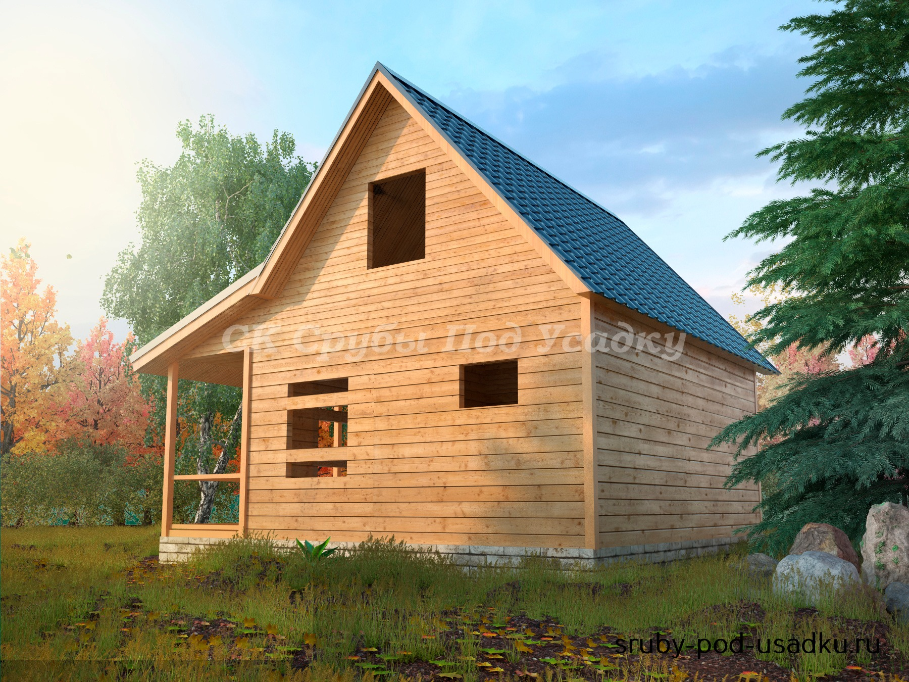 Дом из бруса под усадку 7х8 №15