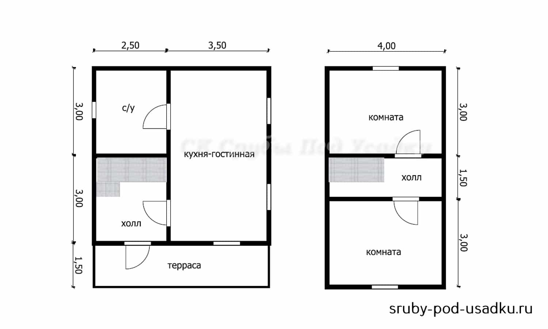 Дом из бруса под усадку 6х7.5 №7