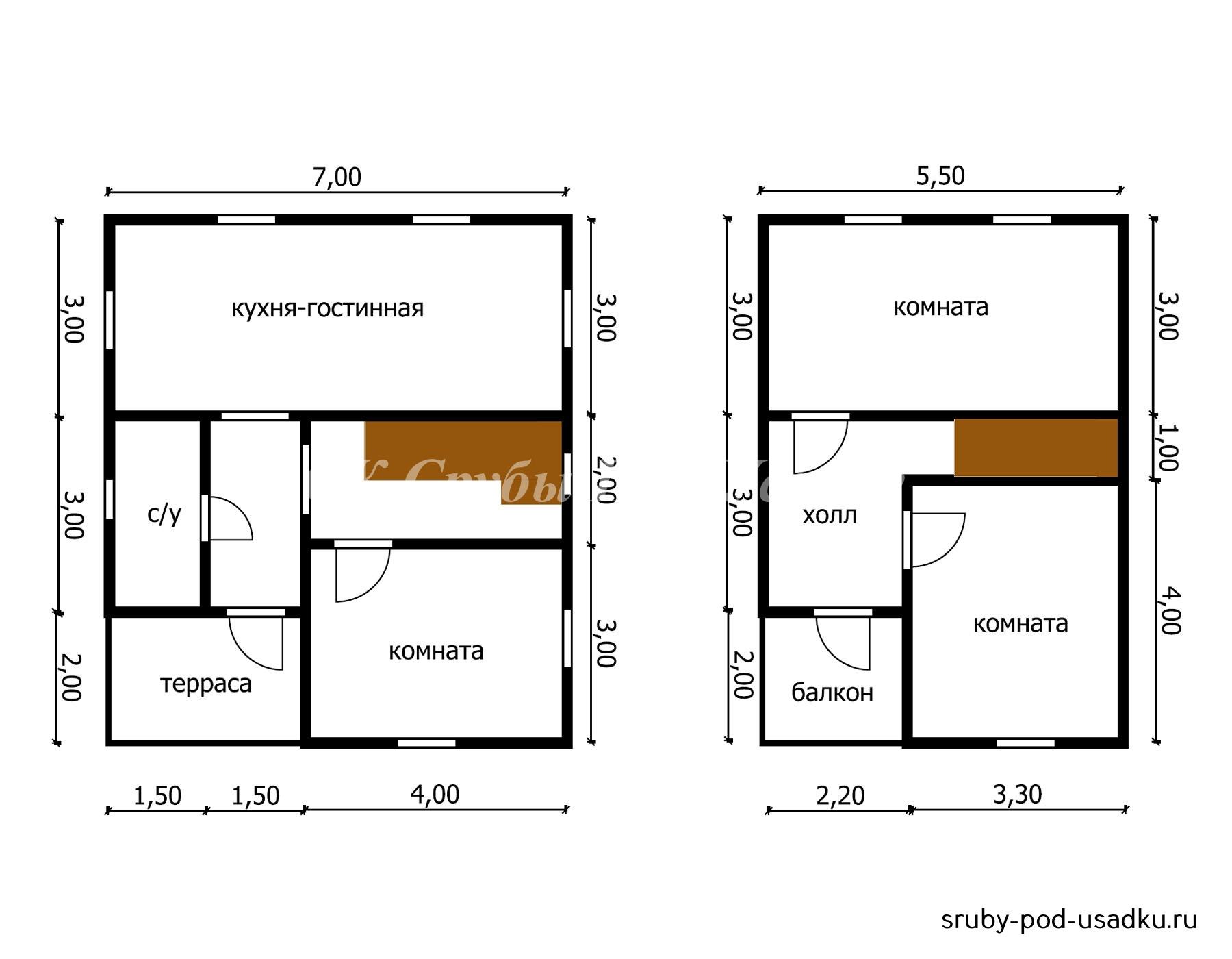 Дом из бруса под усадку 7х8 м №40