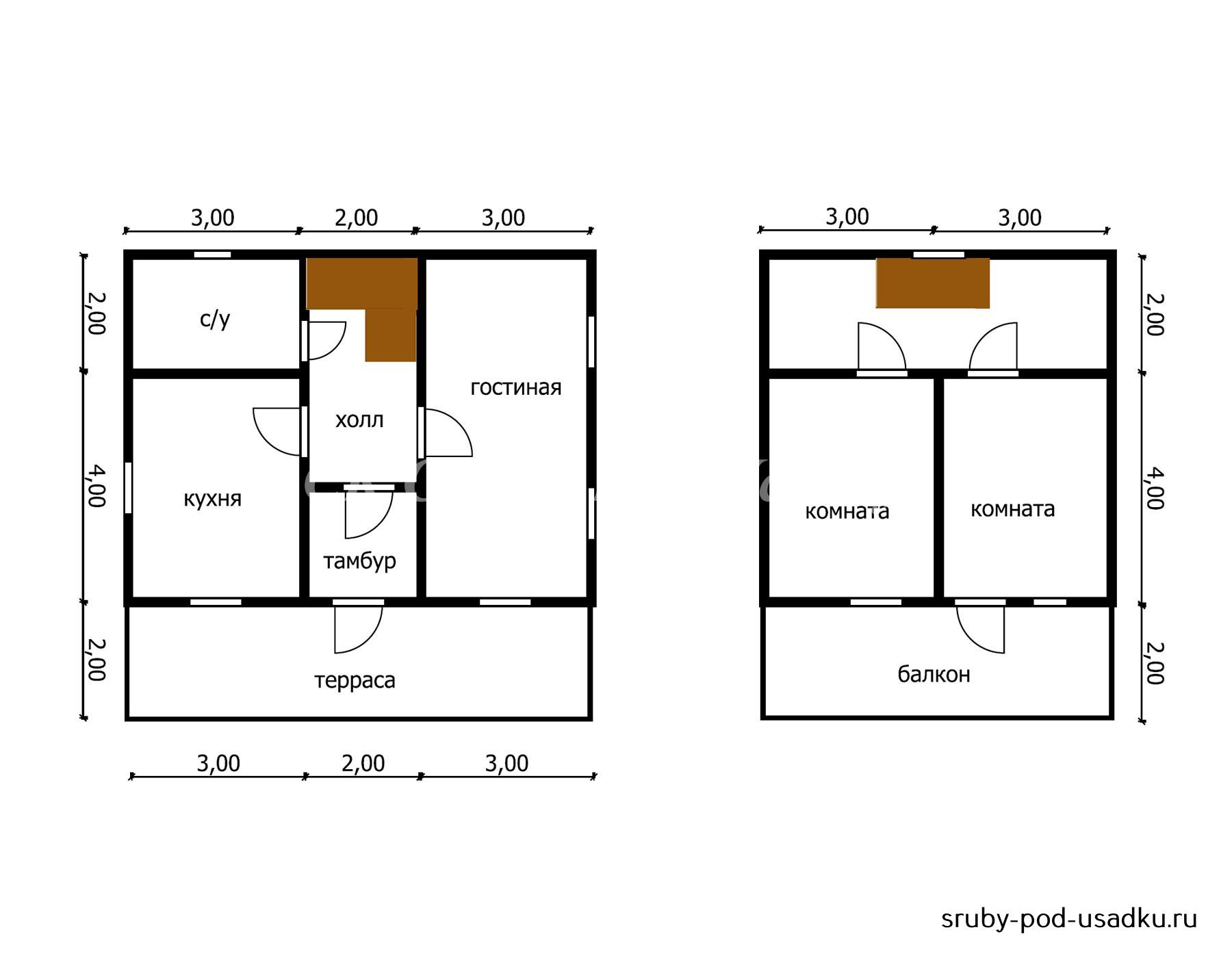 Дом из бруса под усадку 8х8 м №41