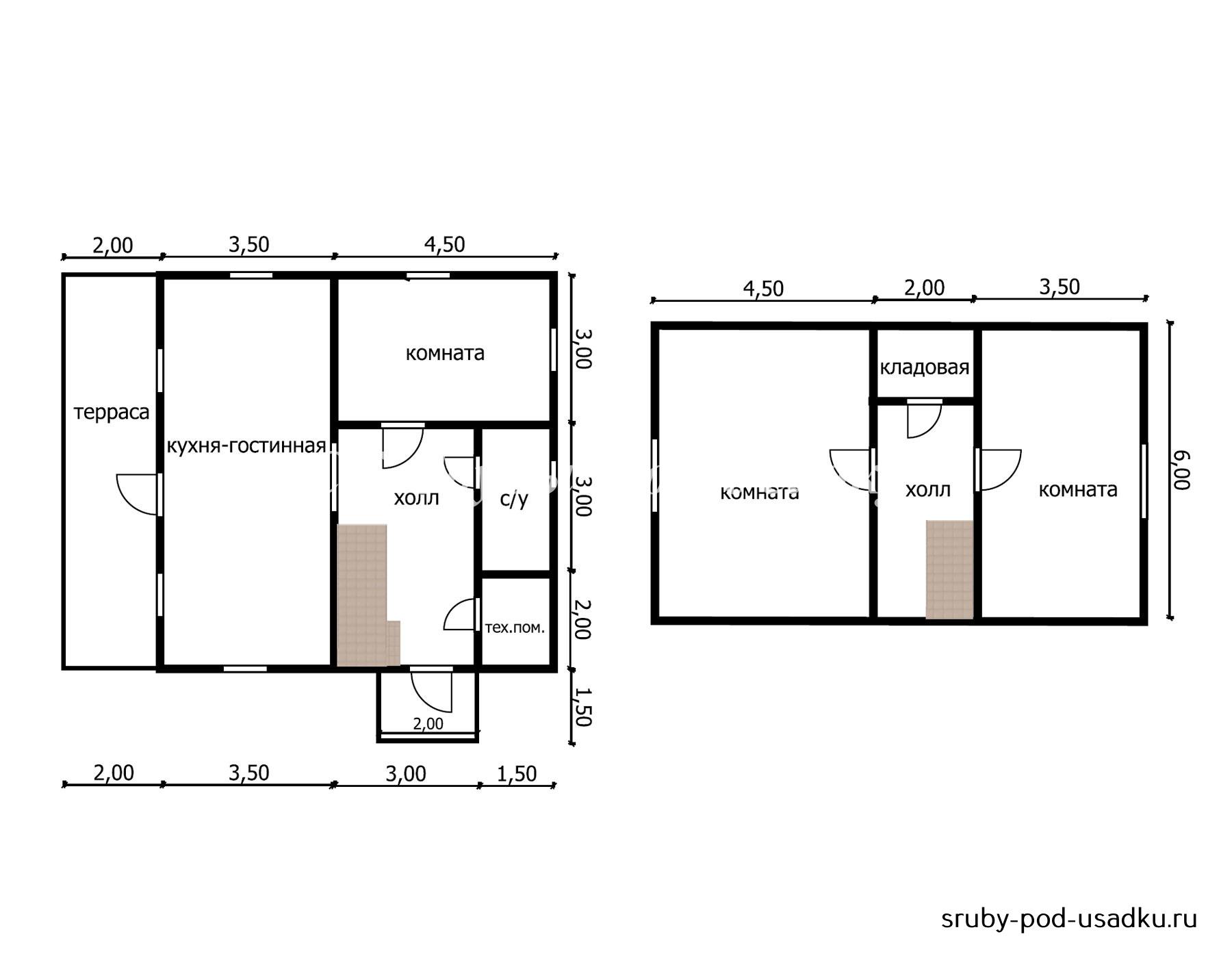 Дом из бруса под усадку 8х10 м №42