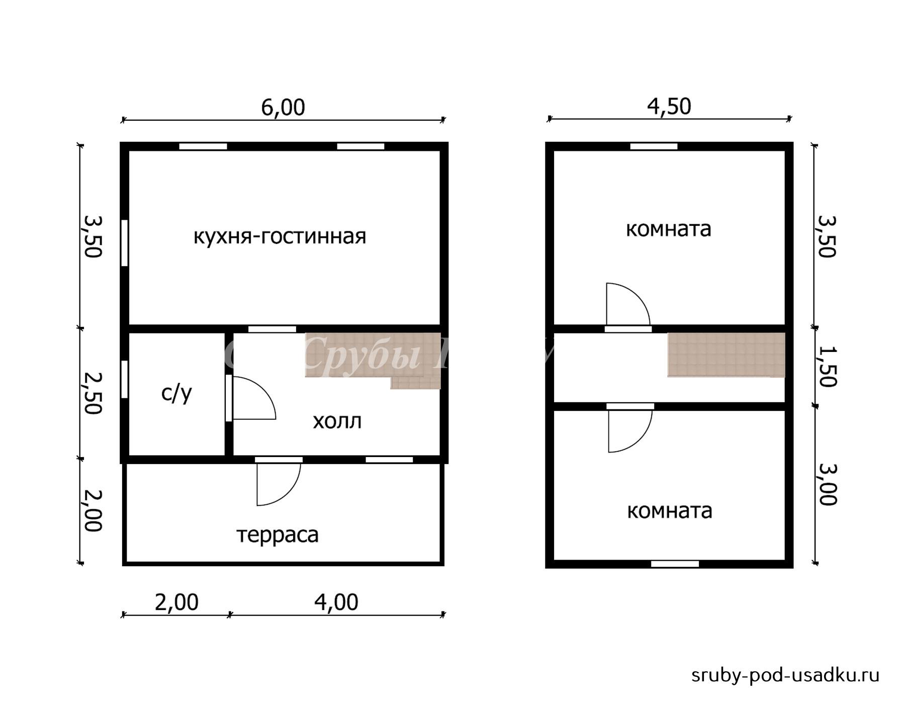 Дом из бруса под усадку 6х8 №45