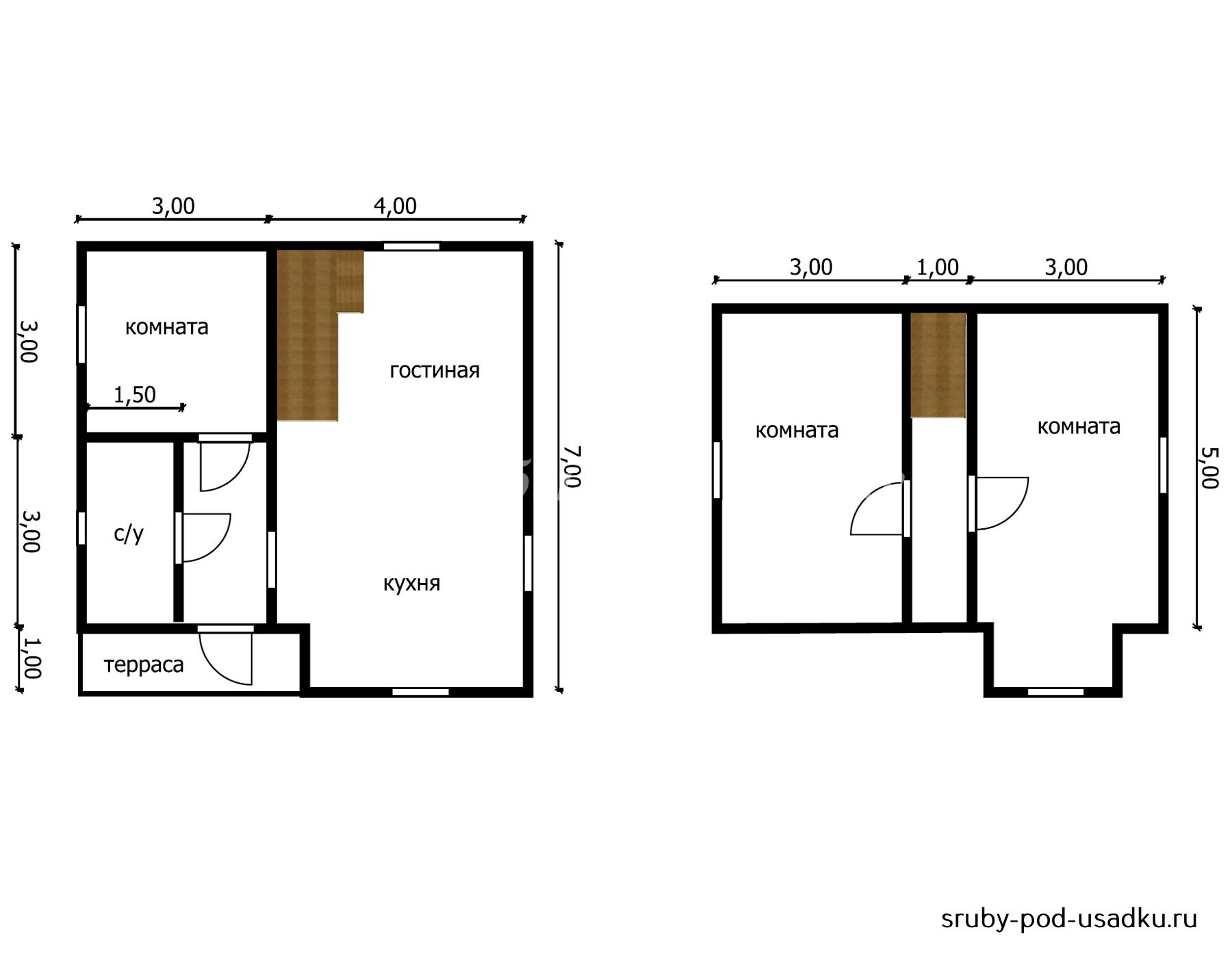 Дом из бруса под усадку 7х7 м №46 недорого