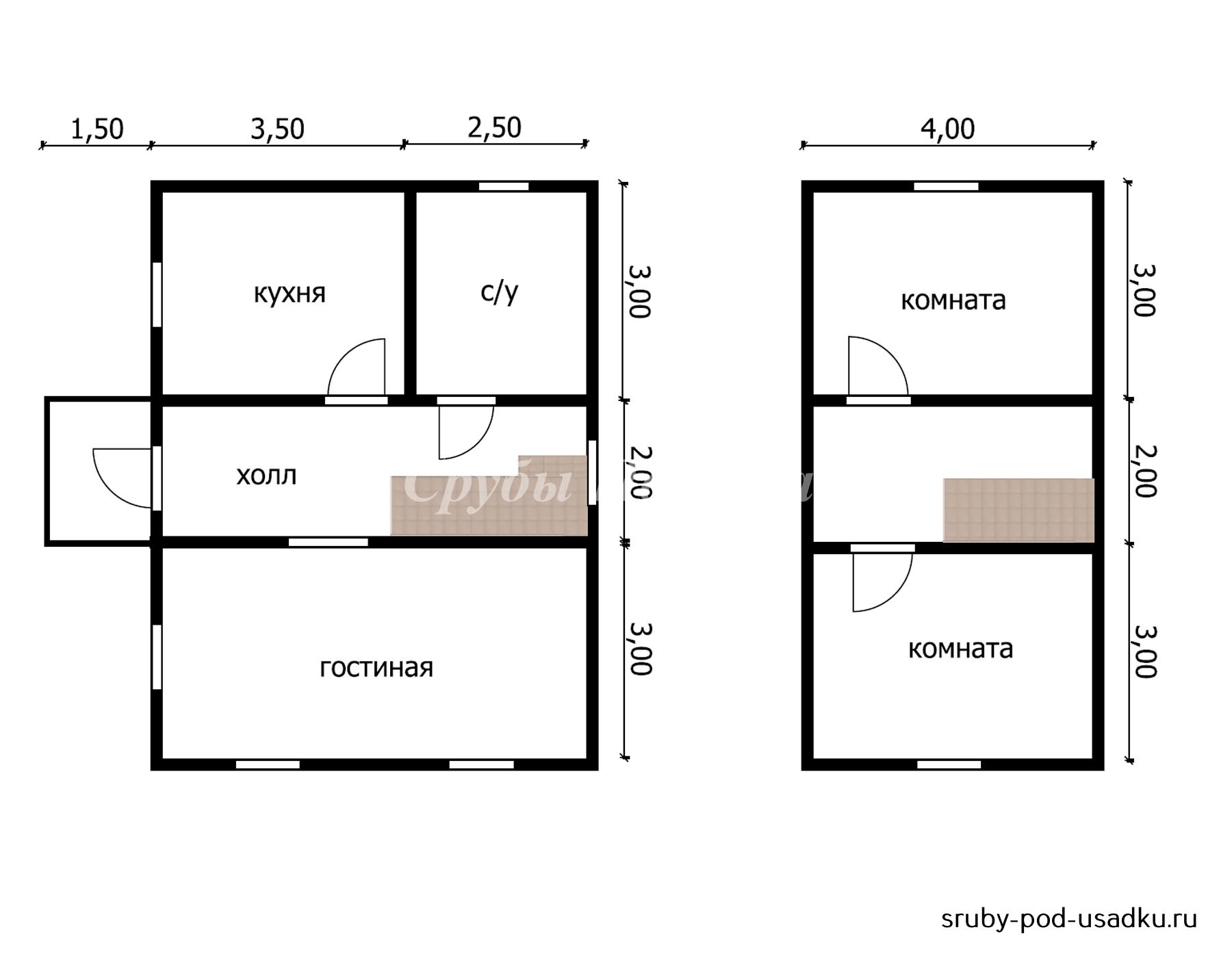 Дом из бруса под усадку 6х8 №12