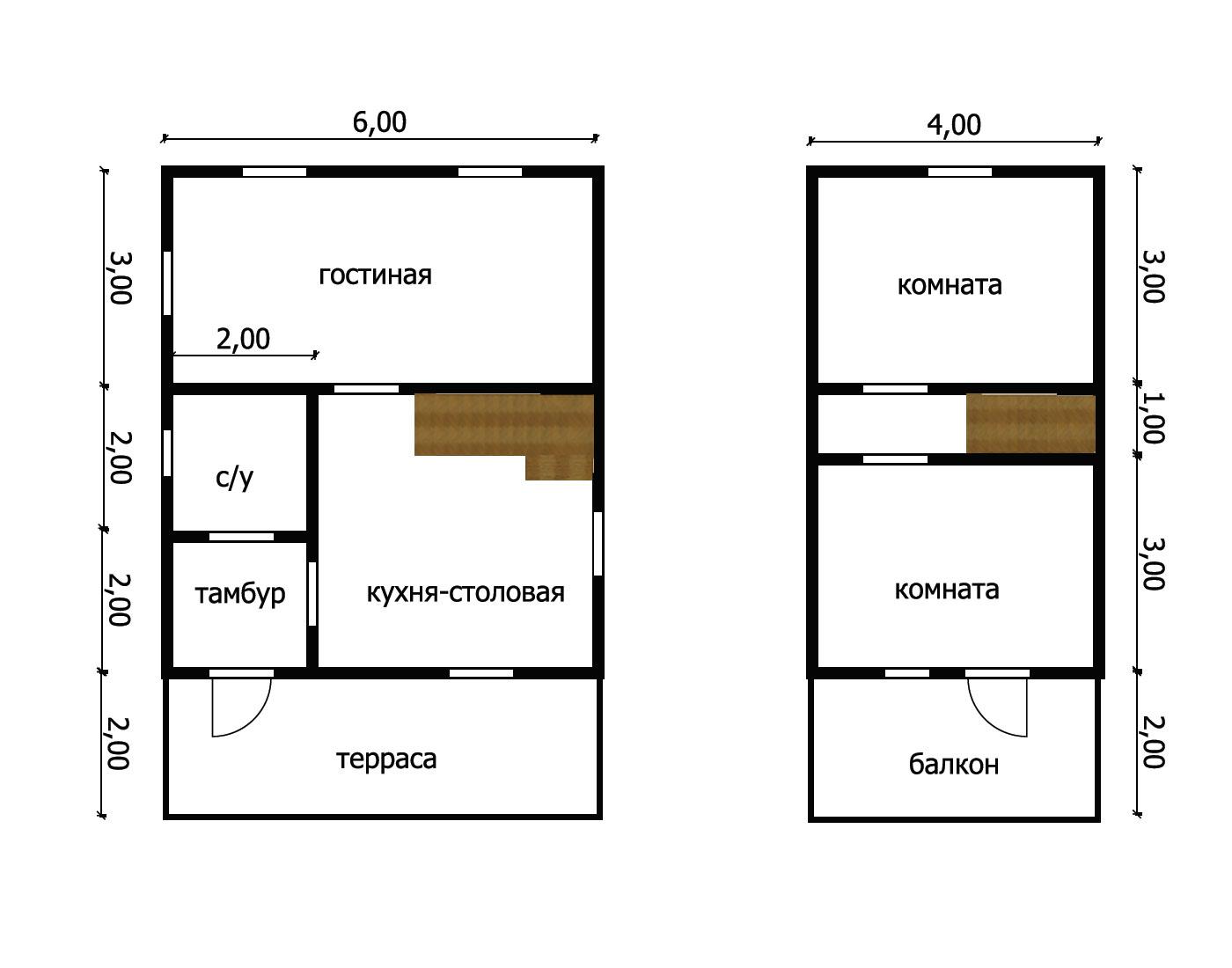 Дом из бруса под усадку 6х9 №8