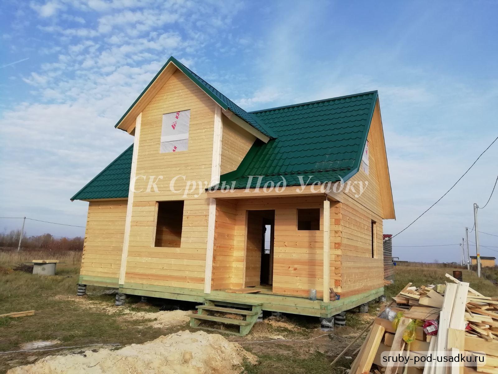 Построенные дома из бруса под усадку