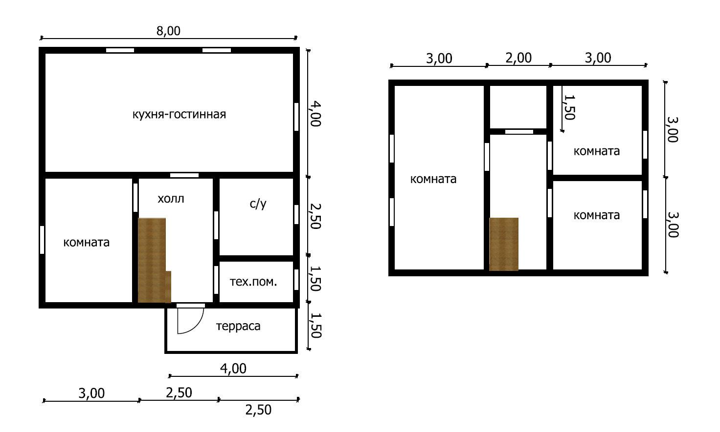 Дом из бруса под усадку 8х8.5 №39