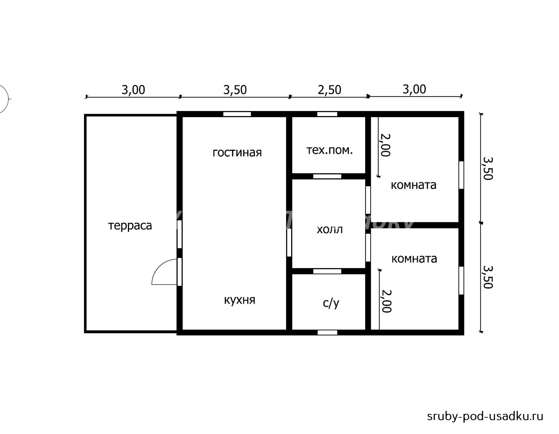 Дом из бруса под усадку 8х10 №21