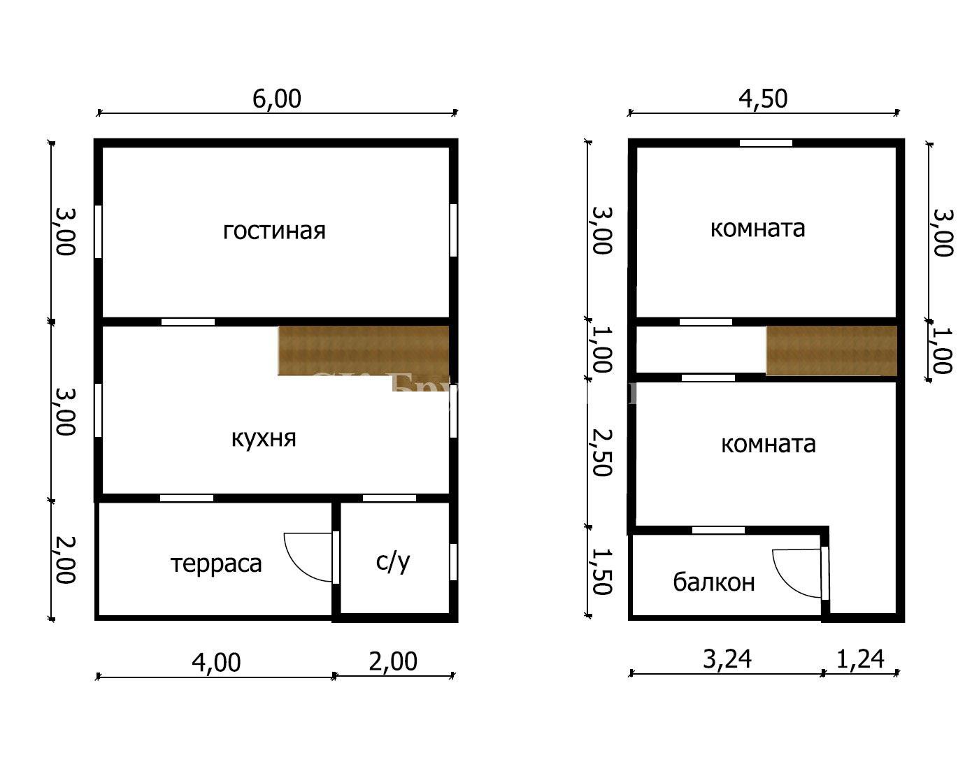 Дом из бруса под усадку 6х8 №13