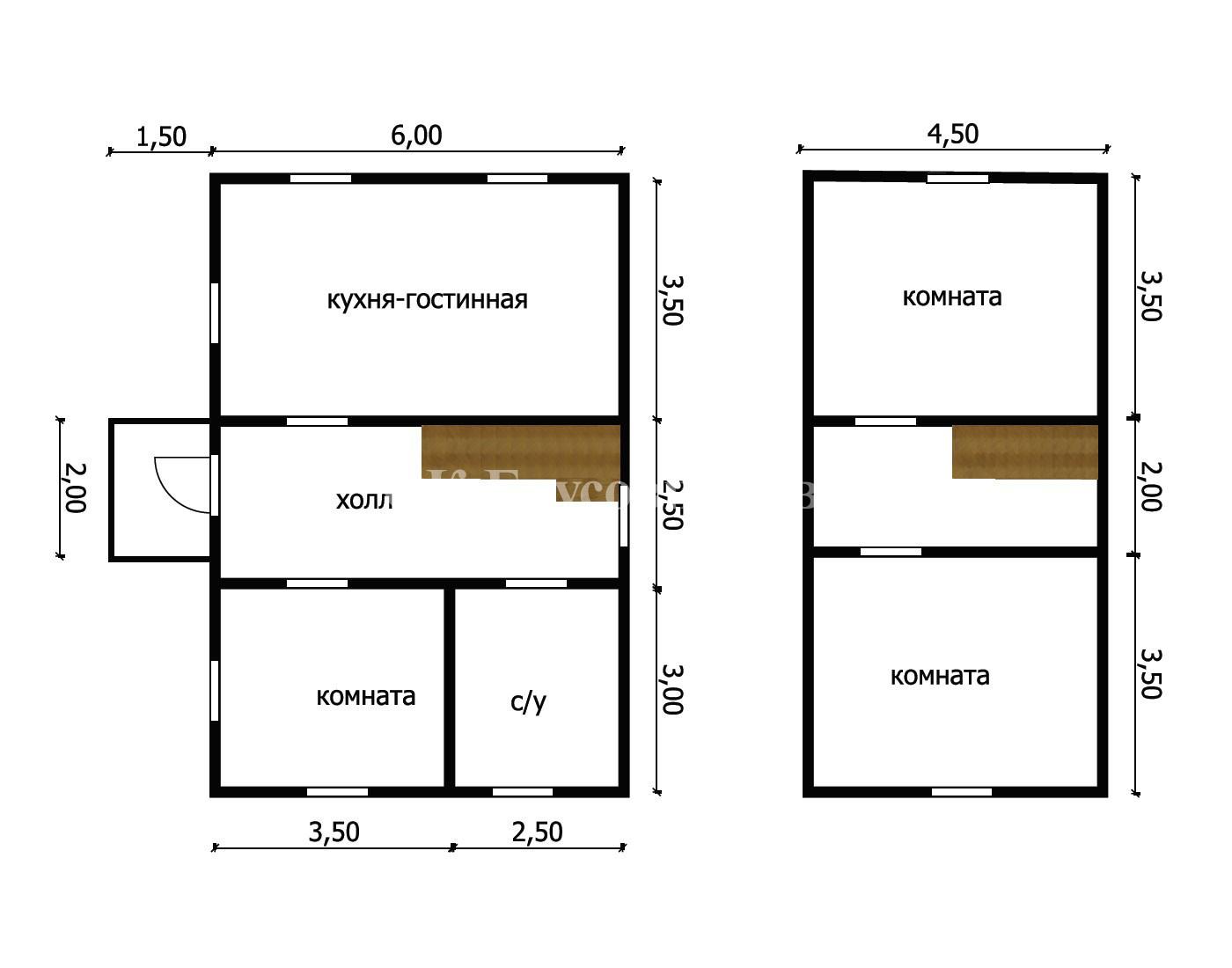 Дом из бруса под усадку 6х9 №9